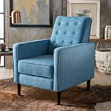 Macedonia Mid Century Modern Tufted Back Fabric Recliner (Muted Blue)