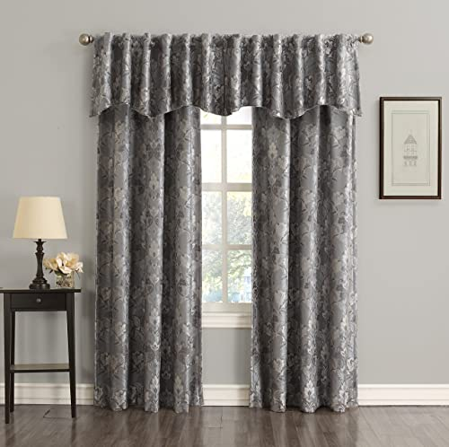 Sun Zero Mayfield Floral Pattern Blackout Back-Tab Curtain Panel, 54 x 63 , Gray