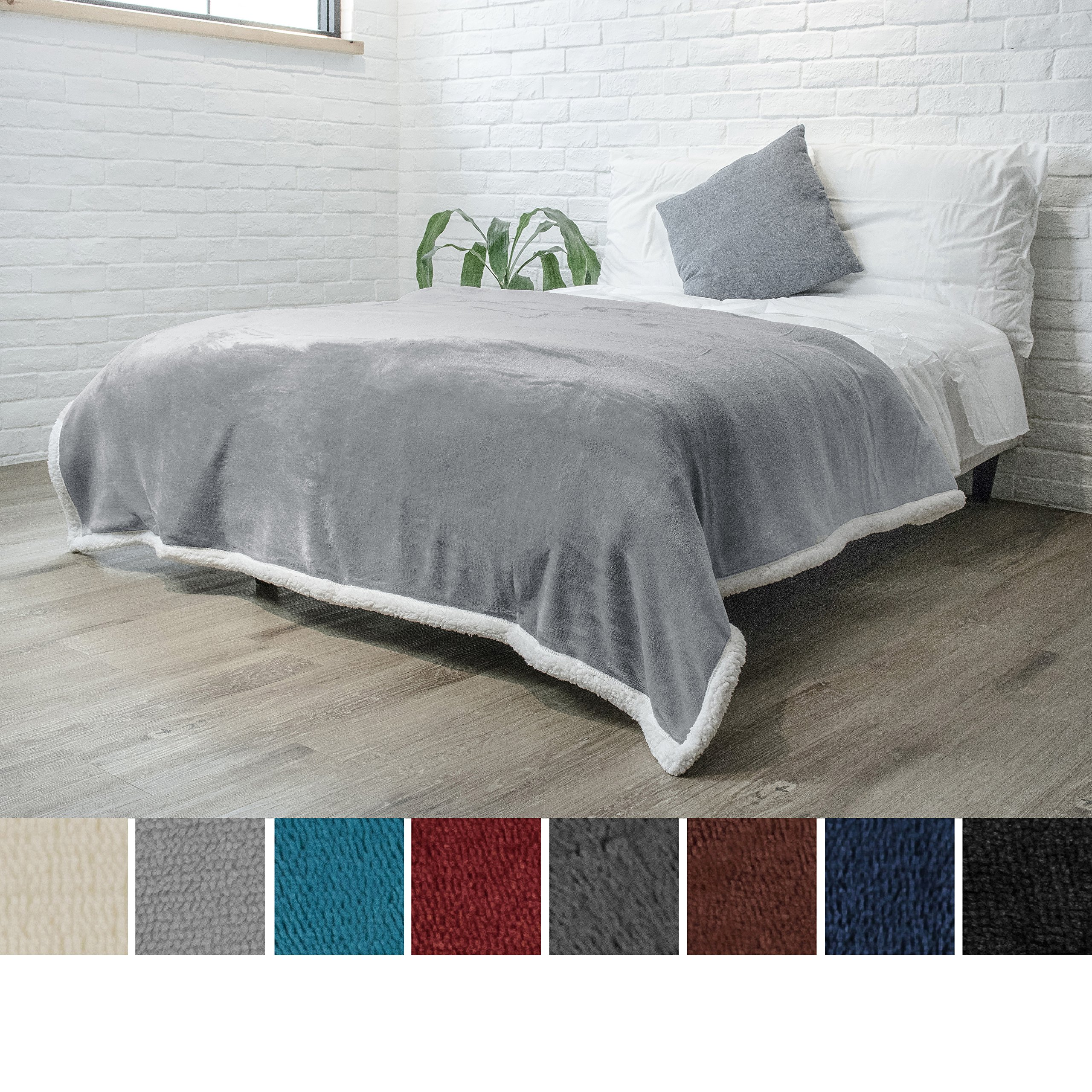 PAVILIA Premium Sherpa Twin Size Blanket | Flannel Fleece Twin Bed Blanket | Plush, Soft, Cozy, Warm, Lightweight Microfiber, Reversible, All Season Use (Light Grey, 60 x 80 inches)