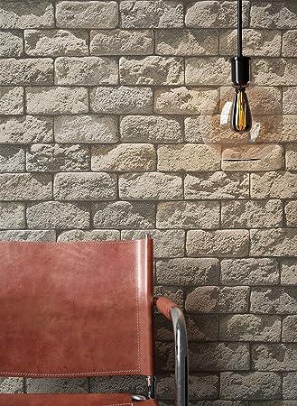 Steintapete in Beige Grau | schöne edle Tapete im Steinmauer Design ...