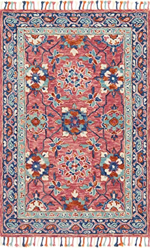Loloi Rugs, Zharah Collection – Rose Denim Area Rug, 5 x 7 6