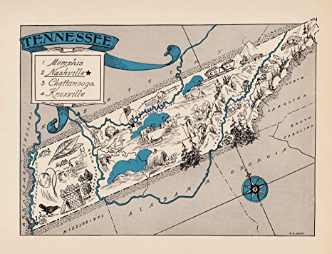 Amazon.com: Vintage Tennessee State Map 1930s Blue Pictorial Cartoon ...