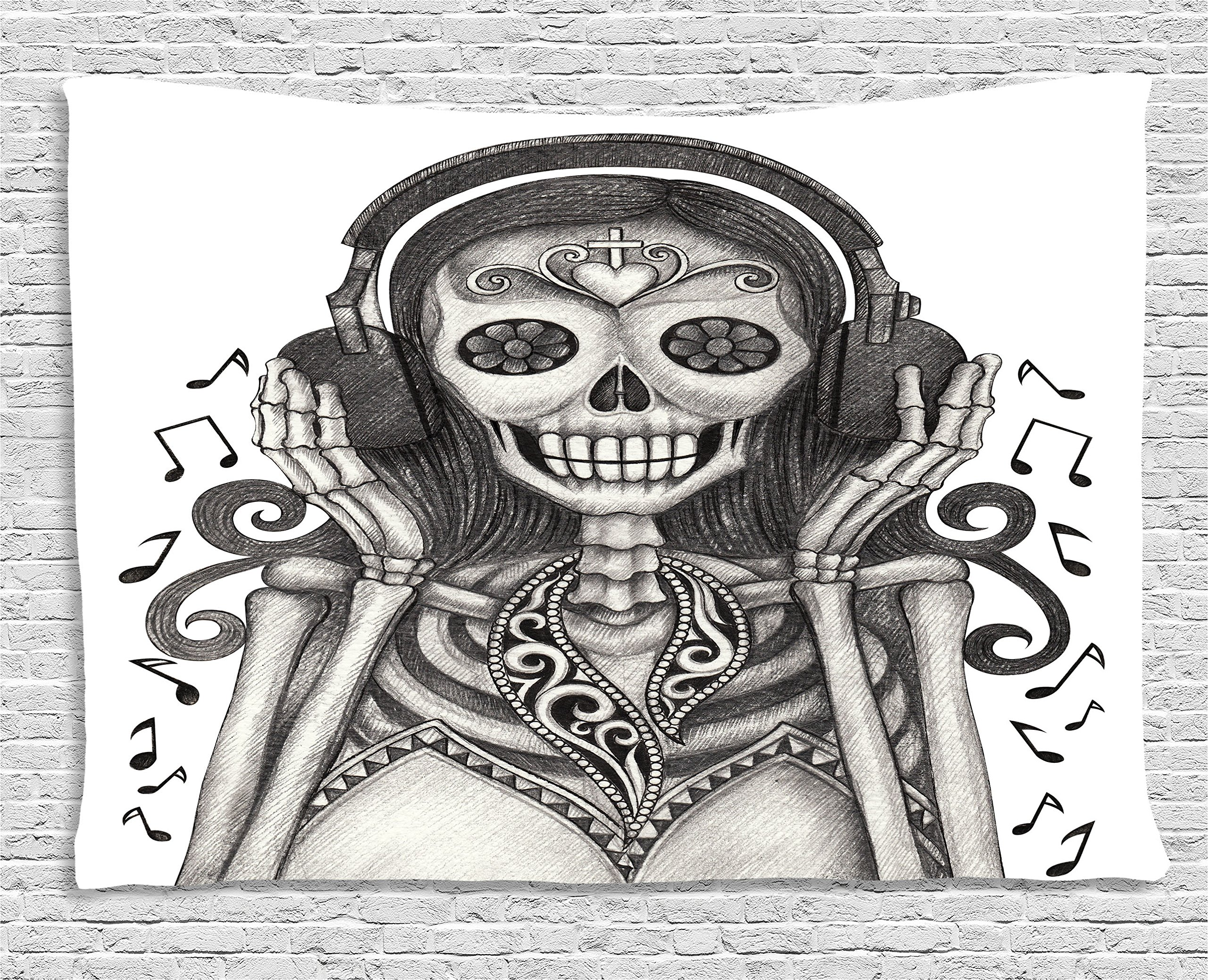 Ambesonne Day Of The Dead Decor Tapestry by, Dia de Los Muertos Skull Girl with Headphones Music Lover Print, Wall Hanging for Bedroom Living Room Dorm, 60WX40L Inches, Dust and Dimgrey