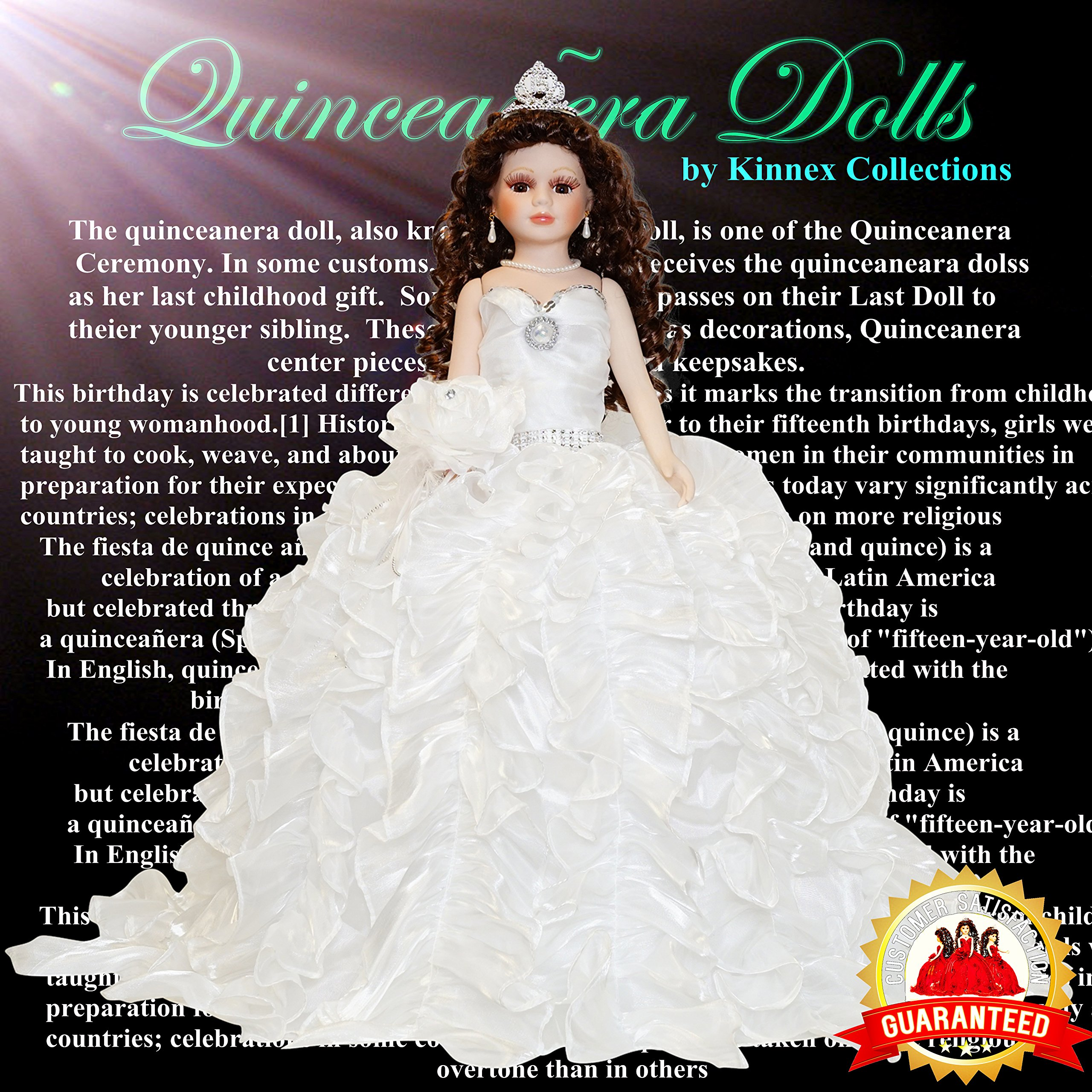 Kinnex Collections by Amanda 24'' Porcelain Quinceanera Umbrella Doll (Table Centerpiece)~White~KB24727-1
