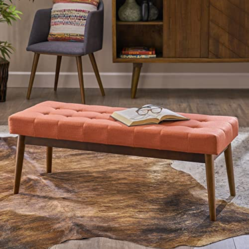 Christopher Knight Home Flora Mid Century Tufted Coral Fabric Ottoman, Walnut