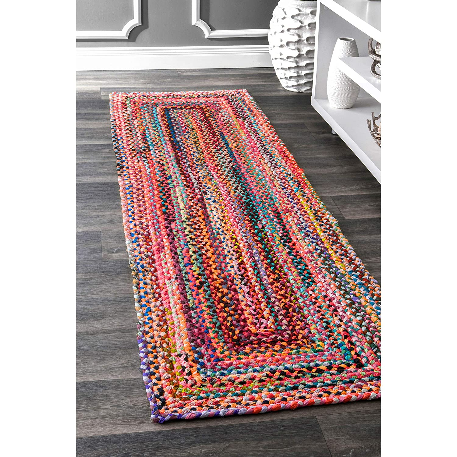 nuLOOM Handmade Casual Cotton Braided Area Rugs, 2' x 3', Multicolor 2' x 3' MGNM04A