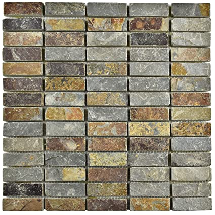 Somertile Scrlnss Cliff Linear Sunset Slate Natural Stone Mosaic