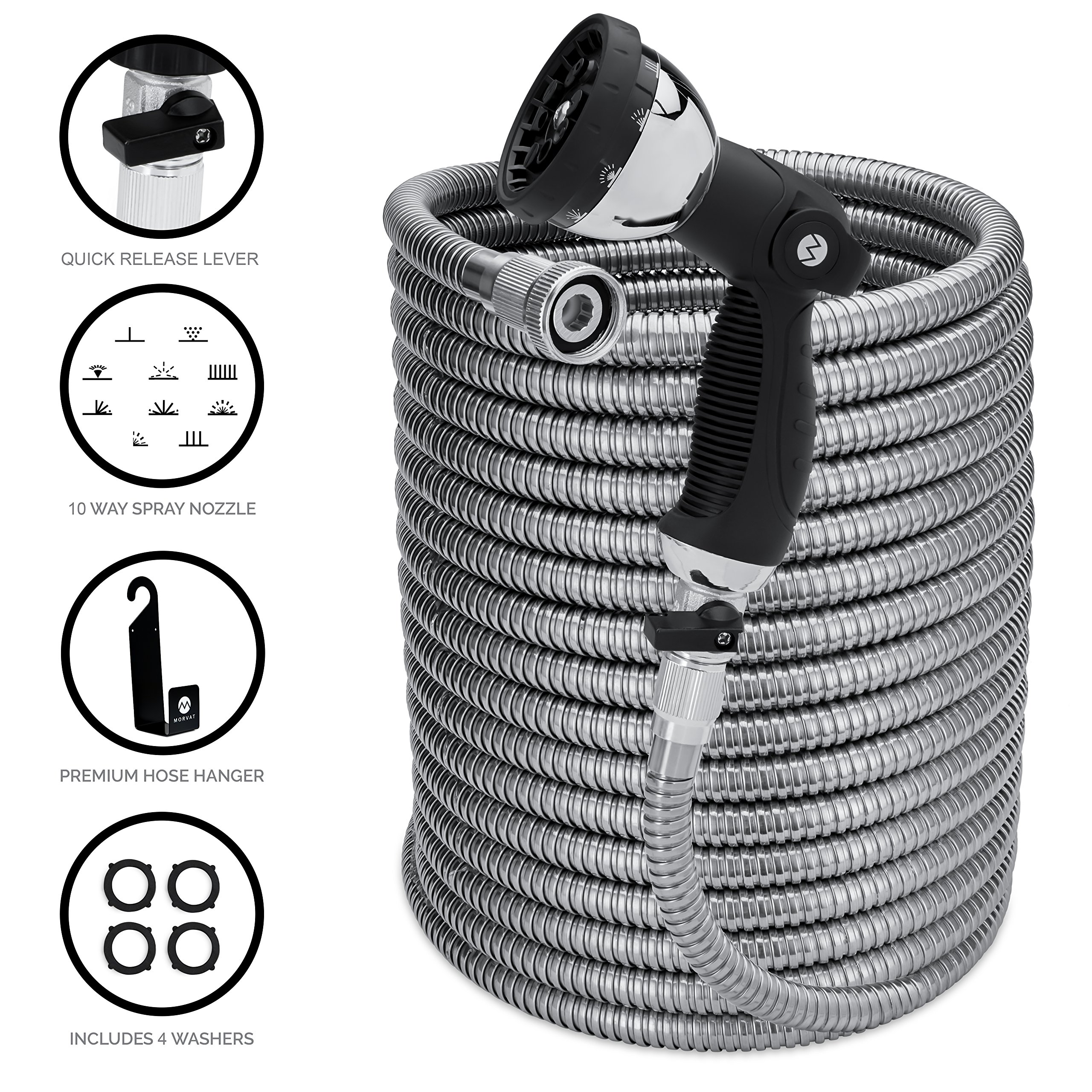 Morvat 100 Foot Stainless Steel Expandable Garden Hose | Heavy Duty Metal | Resistant to Knots, Tangles and Punctures | Steady Spray for Garden, Lawn, Washing Car or Pets | Outdoor Use