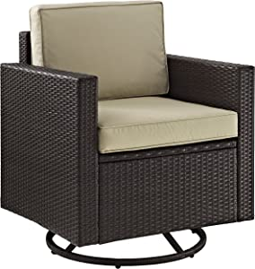 Crosley Furniture KO70094BR-SA Palm Harbor Outdoor Wicker Swivel Rocker Chair, Brown with Sand Cushions