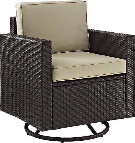 Crosley Furniture KO70094BR-SA Palm Harbor Outdoor Wicker Swivel Rocker Chair