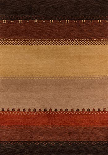 Momeni Rugs Desert Gabbeh Collection, 100 Wool Hand Knotted Contemporary Area Rug, 2 x 3 , Multicolor