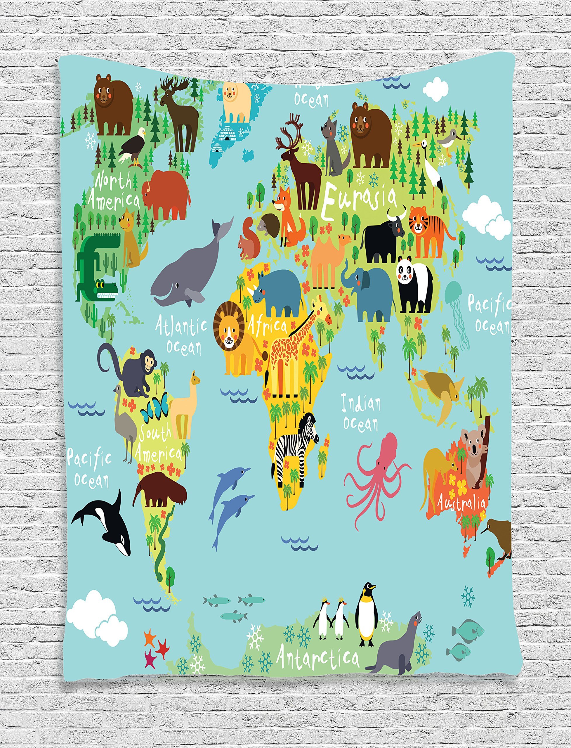 Ambesonne Map Tapestry for Kids Wanderlust Decor, Forest Animals Map of The World for Children and Kids Cartoon Mountains Image, Bedroom Living Room Dorm Wall Hanging Tapestry, Green Yellow Blue