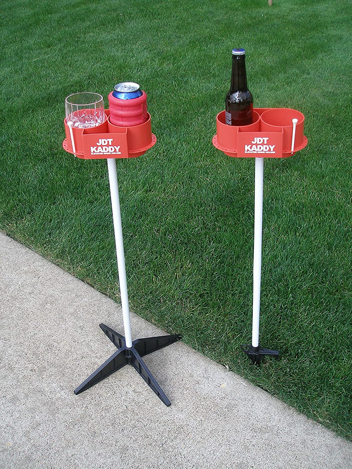 JDT Kaddy Elevated Drink Holders (Set of Two) RED/White - Comes with Both Ground Stakes and Hard Surface Stands. Great for Outdoor Games (RED/White)