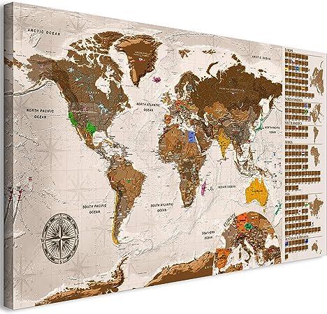 murando - Mapamundi para rascar - Mapa Mundial - 90x45 cm - Color: Beige - Laminado (Posibilidad de Escribir y borrar) - Mapa para rascar con Banderas - Macionales - k-A-0225-o-c: Amazon.es: Juguetes y juegos