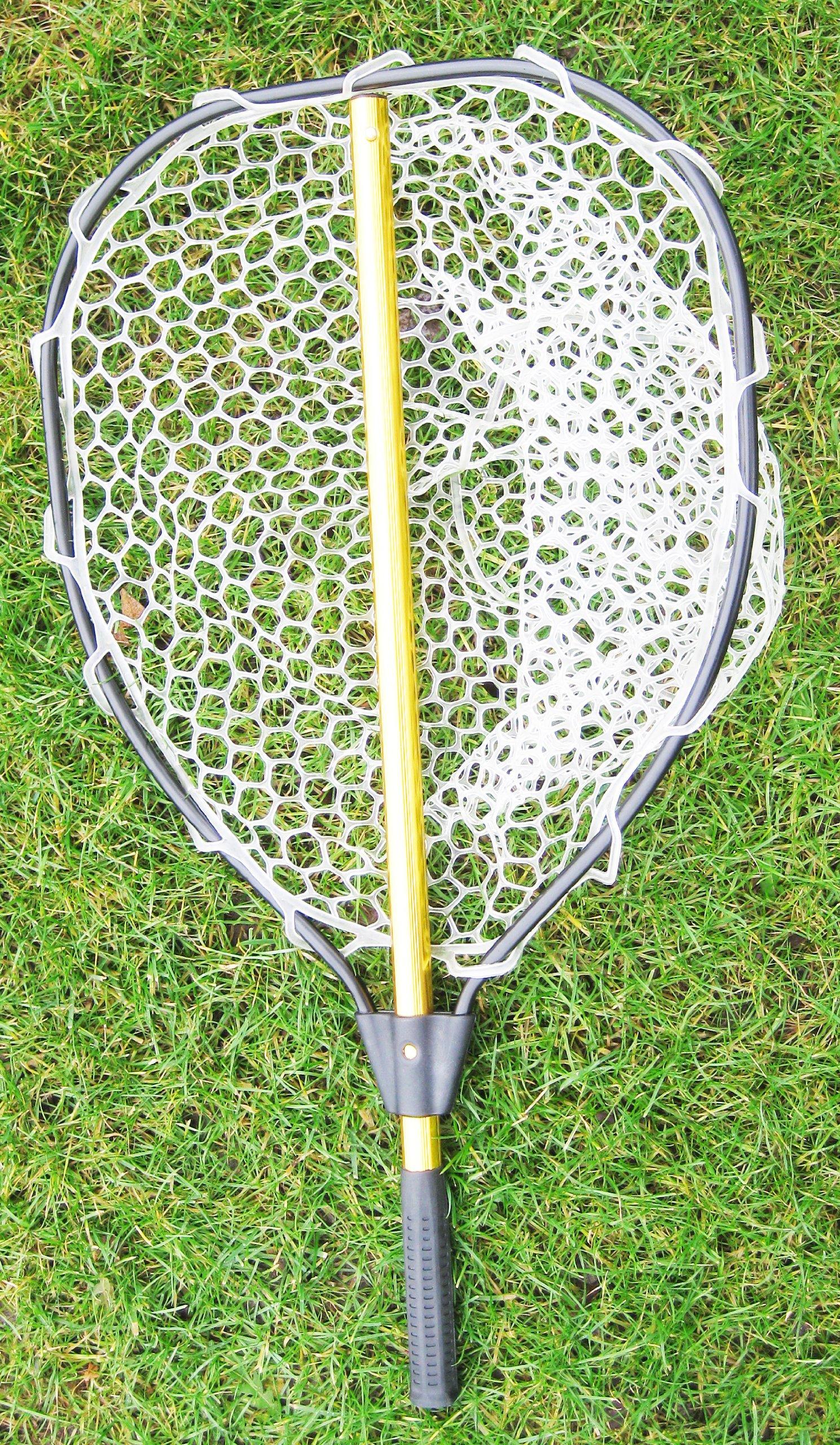 "KUFA Retractable Aluminum Landing Net with PVC Mesh (Hoop:20""x16"",Handle:28"")"
