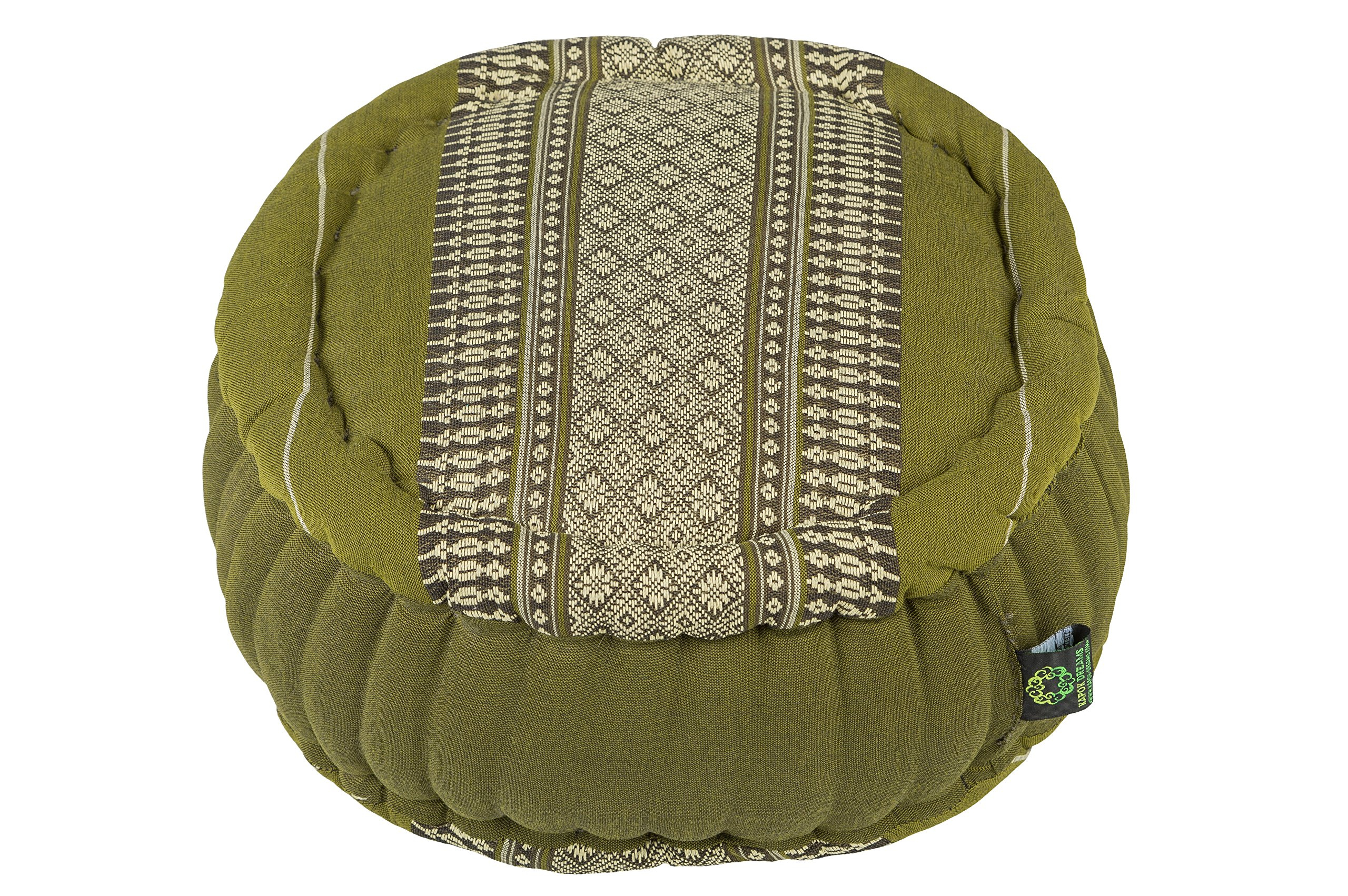 Zafu Round Cushion 100% Kapok, Bamboo Green Thai Design by Kapok Dreams
