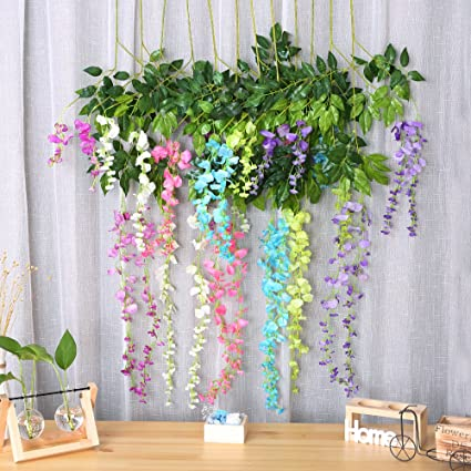 Amazon felice arts artificial wisteria vine silk hanging flower felice arts artificial wisteria vine silk hanging flower wedding decor 12pcsmix color junglespirit Image collections