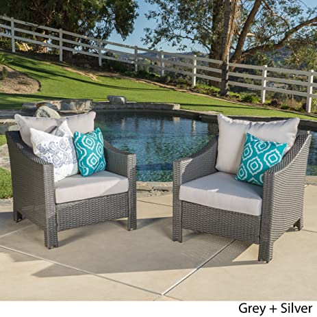 Caspian Outdoor Patio Furniture Grey Wicker Club Chair With Silver Water  Resistant Fabric Cushions (Set