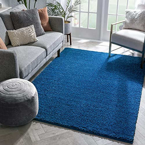 Well Woven Madison Shag Plain Dark Blue Modern Solid Area Rug 3'3'' X 5'3''
