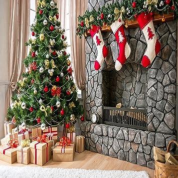 250x250cm(8x8ft) Fondo de fotografía de Navidad para niños Árbol de Navidad y Tres Calcetines de Regalo Chimenea Chimenea Foto de Fondo: Amazon.es: ...