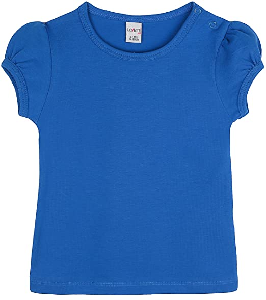 Lovetti Girls Basic Short Puff Sleeve Round Neck T-Shirt