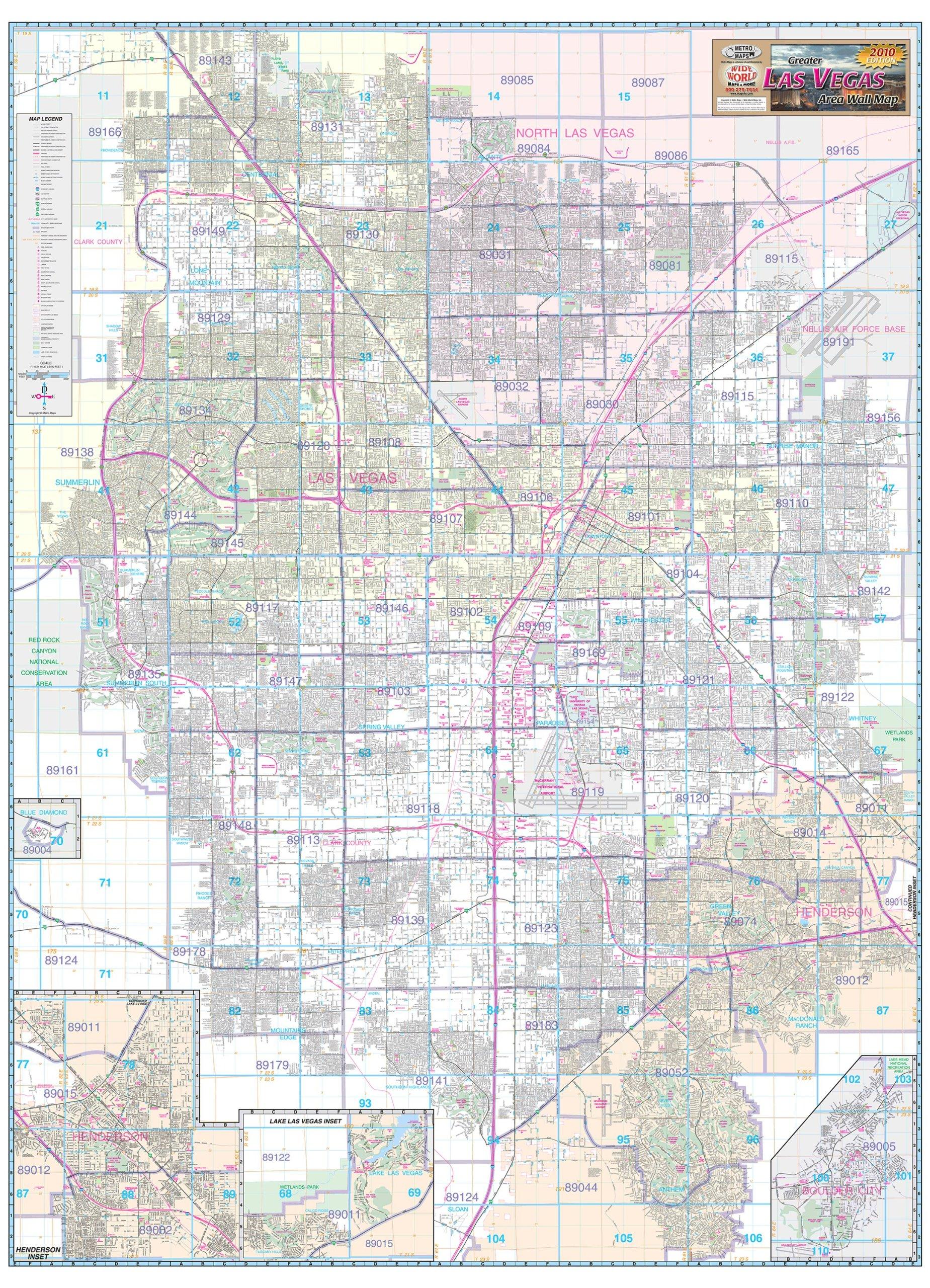 Greater Las Vegas Area Wall Map Gloss Laminated Amazon Com Books