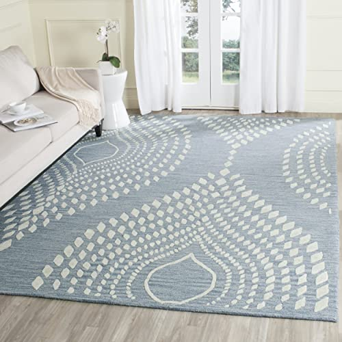 Safavieh Bella Collection BEL126A Handmade Blue and Ivory Premium Wool Area Rug 9' x 12'