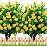Artificial Flowers Outdoor Plastic Mums - 6 Bundles Face Plants Outside Fake Greenery UV Resistant No Fade Faux Fall…