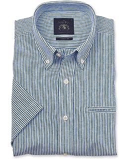32bc9119cf66bb Savile Row Men's Linen-Blend Short Sleeve Shirt - Classic Fit Button-Down  Collar