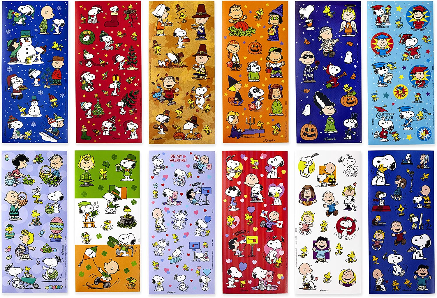 Pack of 12 Sheets/—All Occasion, Halloween, Valentines Day, Holiday Hallmark Peanuts Stickers for Kids