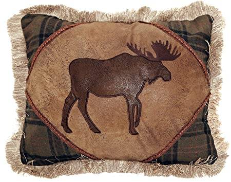 Carstens Moose With Cedar Hills Plaid Pillow