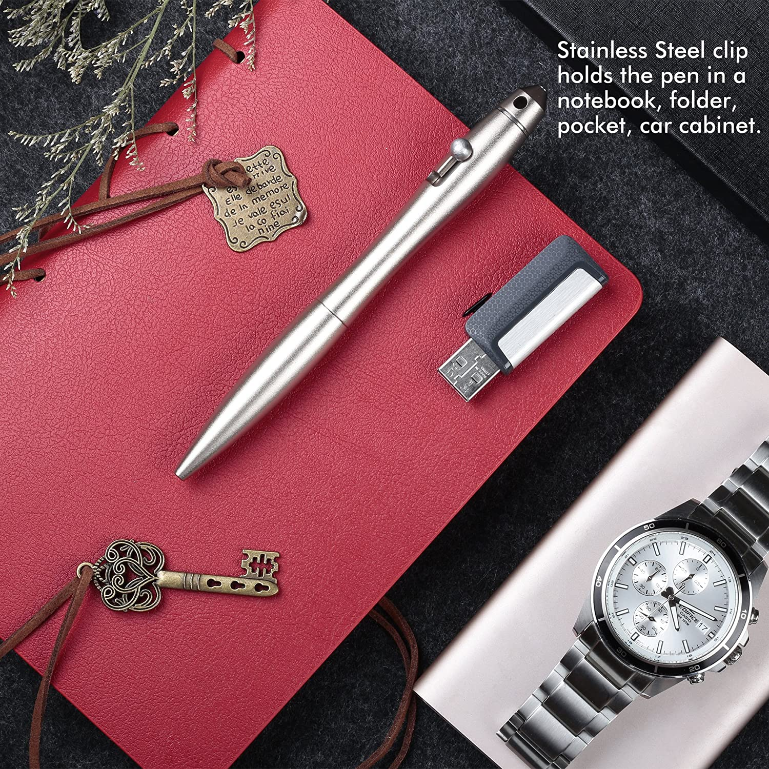 SMOOTHERPRO Practical Bolt Action Pen Multiple Colors Available with Tactical Tip Self Defense Ballpoint Pen with Elegant Shape Color Black