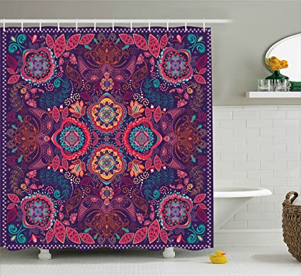 Ambesonne Paisley Shower Curtain Modern Classic Ethnic Asian Design With Dots Leaves And Flowers Artistic