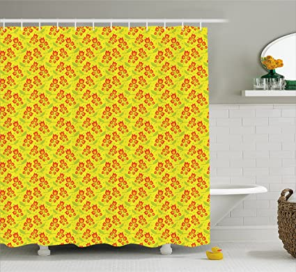 Lunarable Yellow And Red Shower Curtain By Bell Flower Silhouette Botanical Illustration Garden Bloom