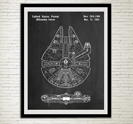 Charmant Star Wars Patent Home Office Decor Star Wars SpaceCraft Art Prints  Millennium Falcon Wall Art Hanging