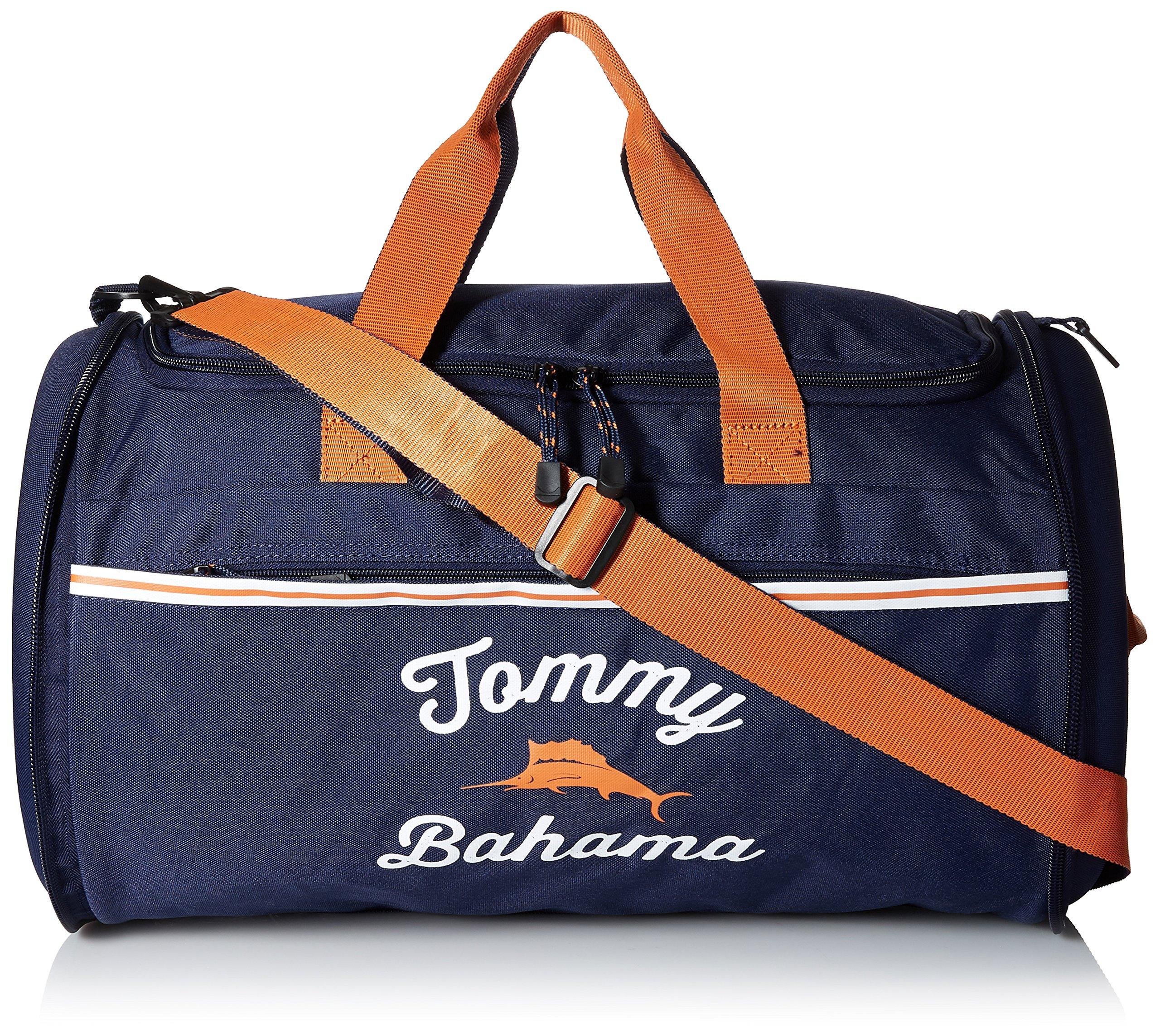 Tommy Bahama Travel Carry Duffle Bag, Navy/Orange/Navy