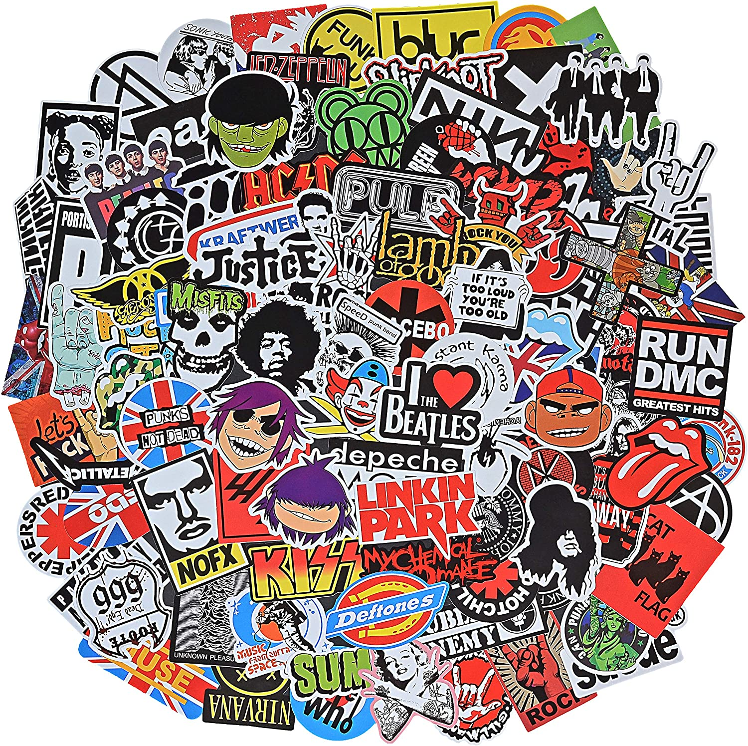 Band Stickers Pack Rock Roll Stickers -100 Pcs Vinyl Waterproof Stickers for Personalize Laptop, Electronic Organ, Guitar, Piano, Skateboard, Luggage Graffiti Decals (Stickers - B)
