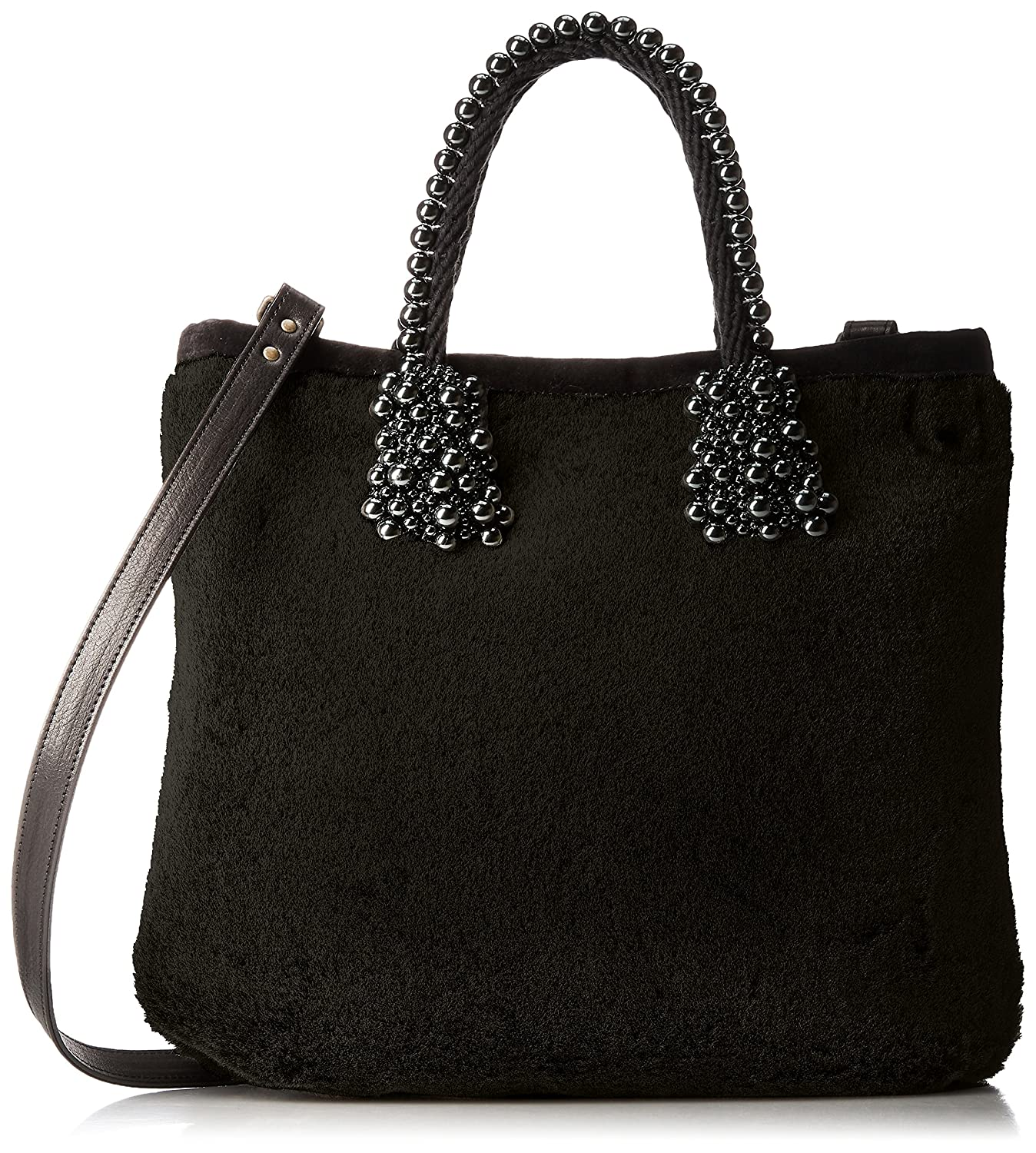[カルネ] Fake Mouton x Pearl Rope Tote & ShoulderCE-1704-300 B07421K7JBブラック