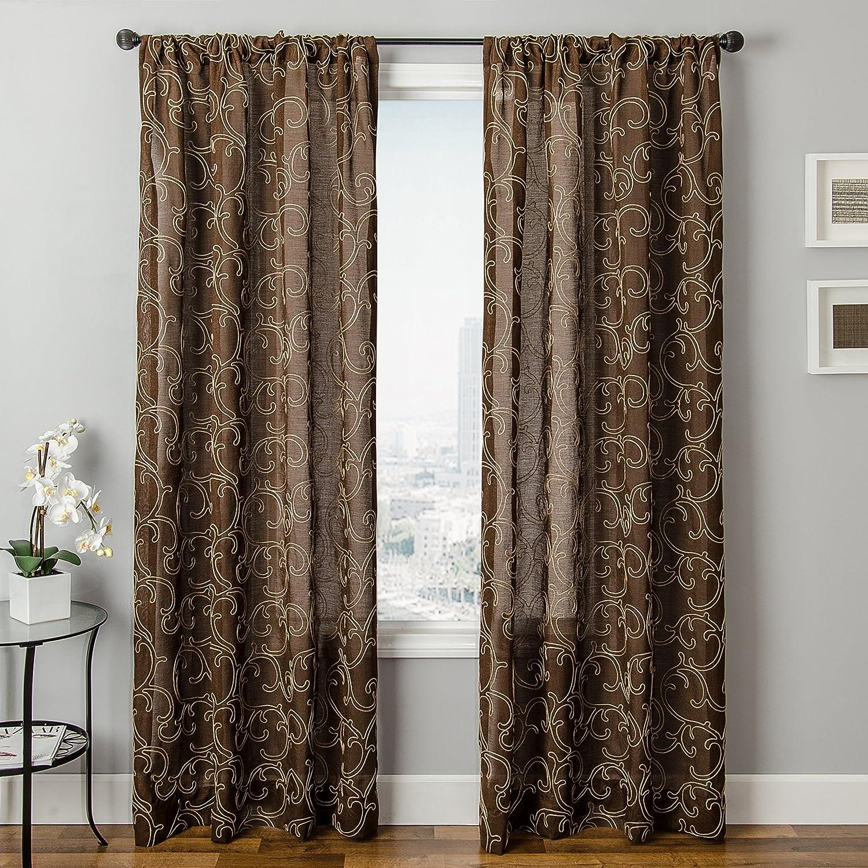 Softline Home Fashions SANJUCHO63RPP Emmallee Window Panel, Chocolate