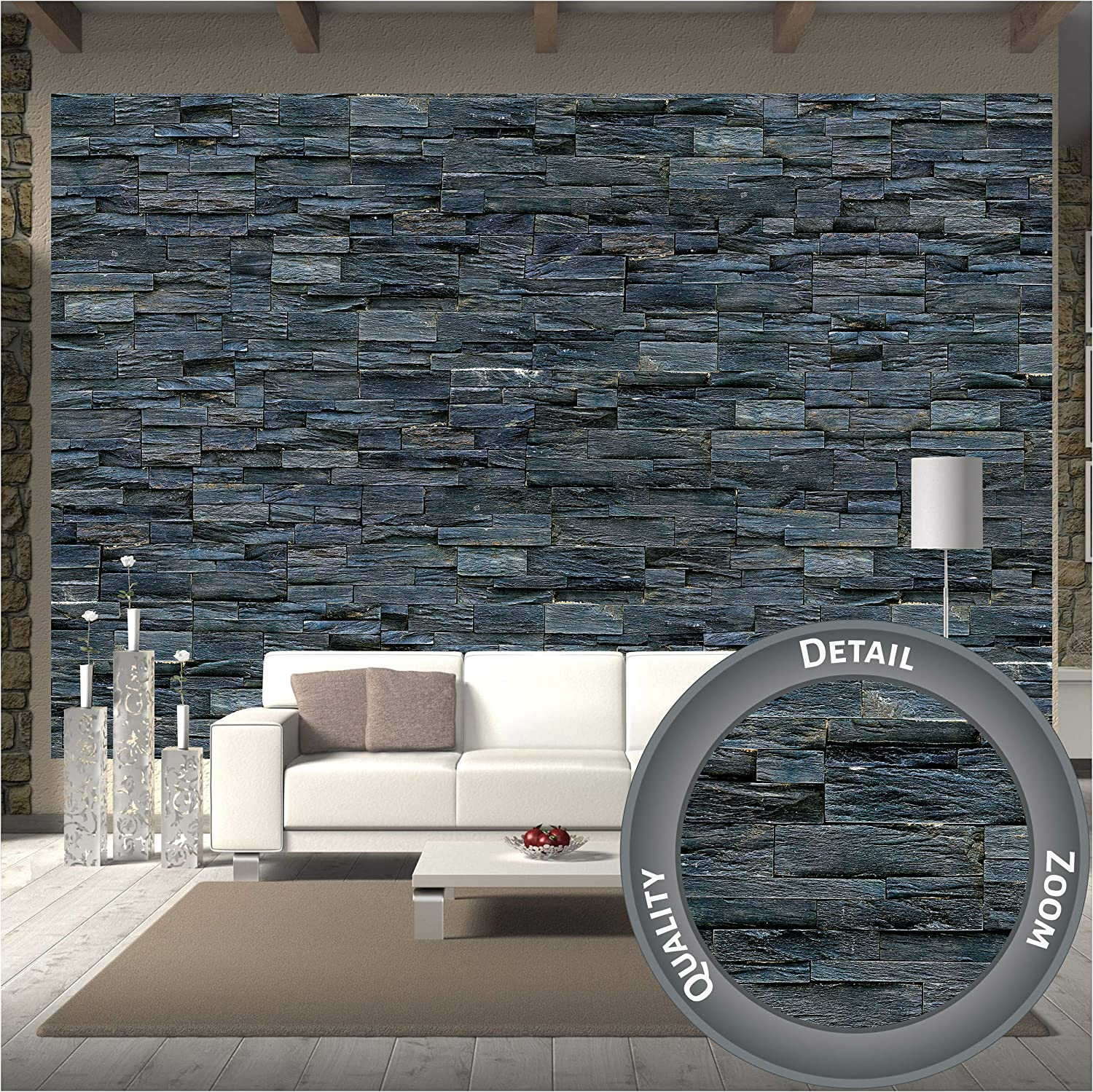 Amazon Com Great Art Large Photo Wallpaper Black Stonewall Photo Wallpaper Picture Decoration Modern Natural Dark Stone Look Industrial Design Image Decor Wall Mural 132 3x93 7in 336x238cm Home Improvement