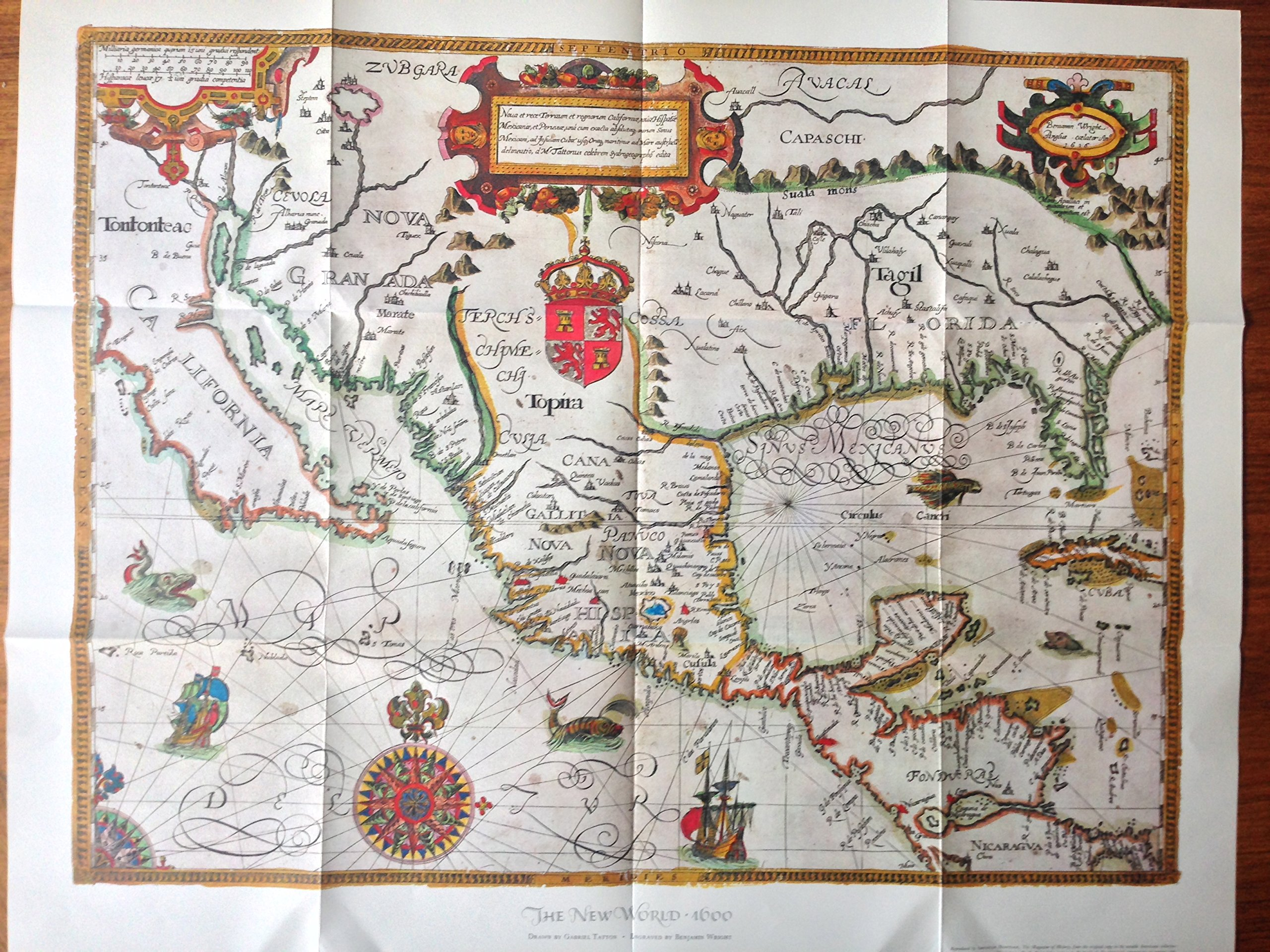 Map Reproduction The New World 1600 Drawn By Gabriel Tatton