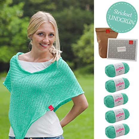Myoma Strickset Poncho Strickpackung Poncho Savanne Strickpaket