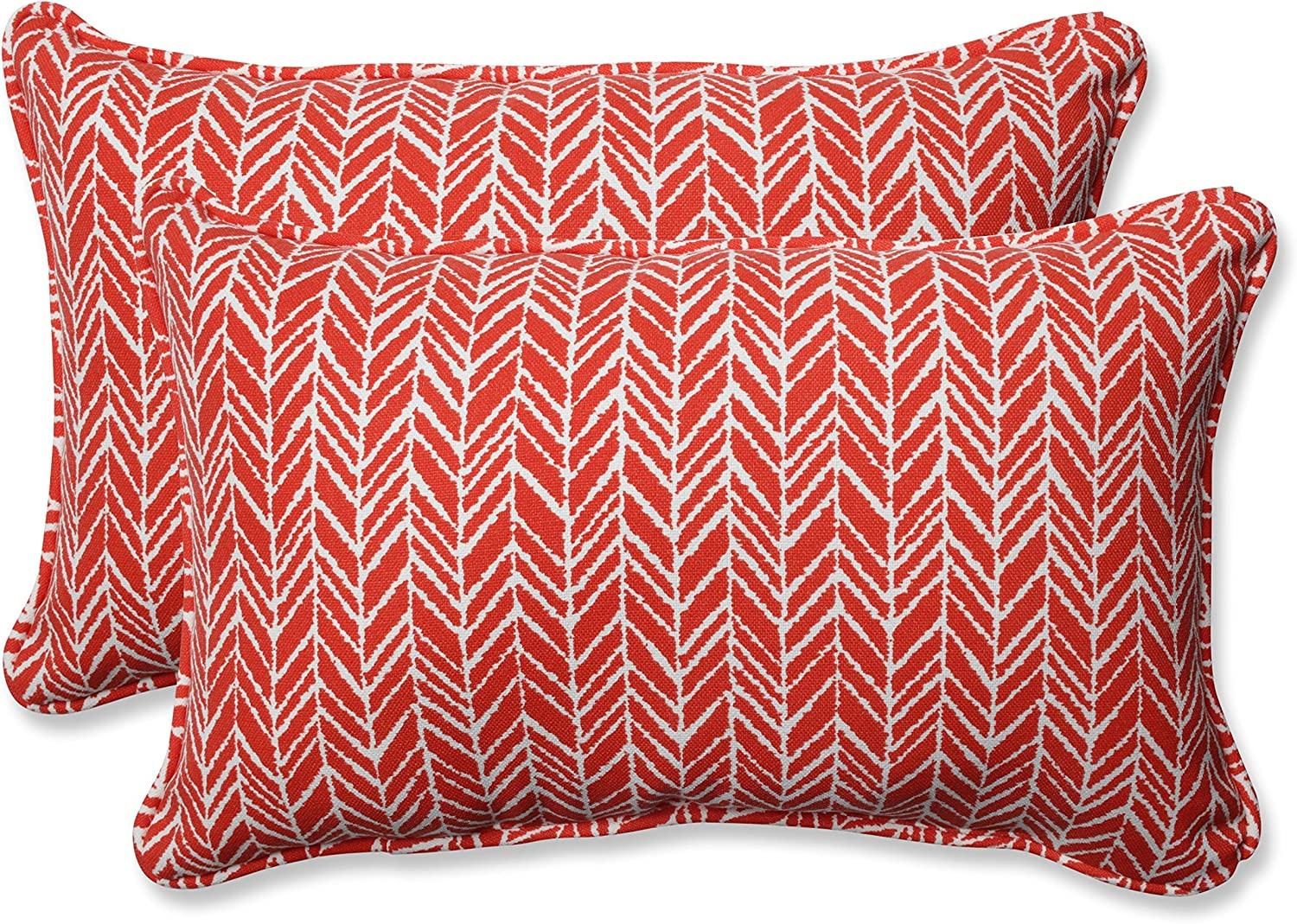 Pillow Perfect Outdoor Indoor Herringbone Tomato Rectangular Throw Pil, 2 Piece