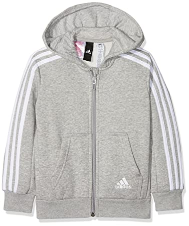 adidas Jungen 3 Stripes Fleece Full Zip Hooded Kapuzen-Jacke, Medium Grey  Heather  6f8369f43e