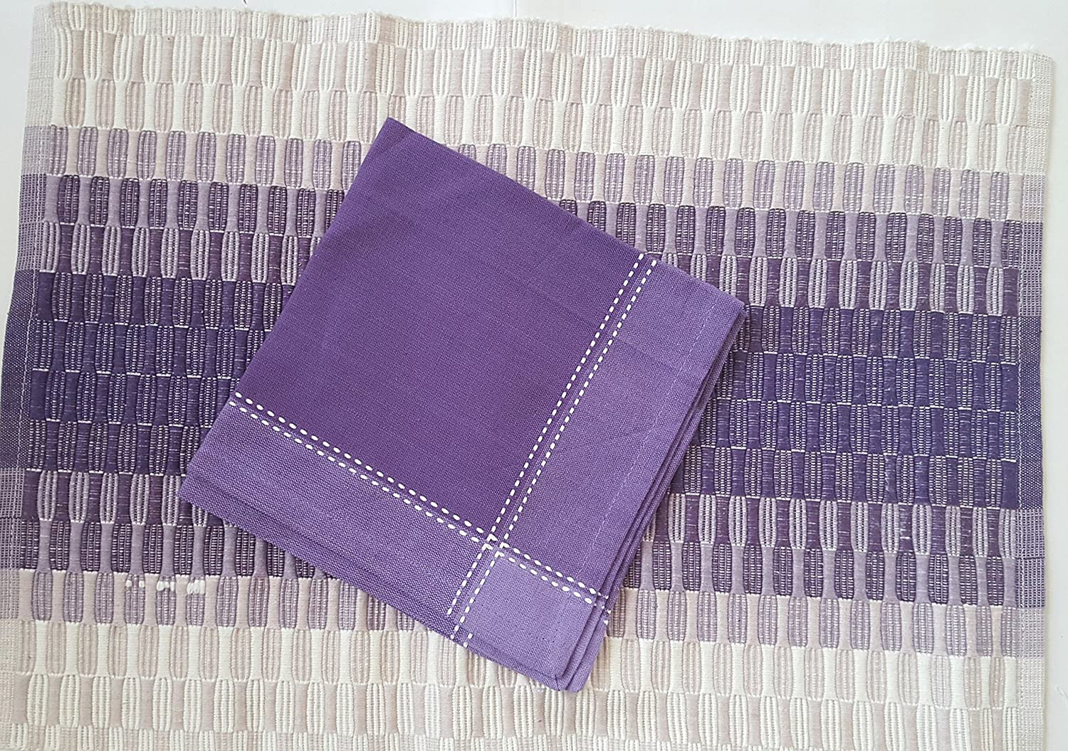 Buy Ribbed Cotton Table Linen Placemat Set 12 Pcs 6 Placemats 6 Napkins Lilac Cream Online At Low Prices In India Amazon In
