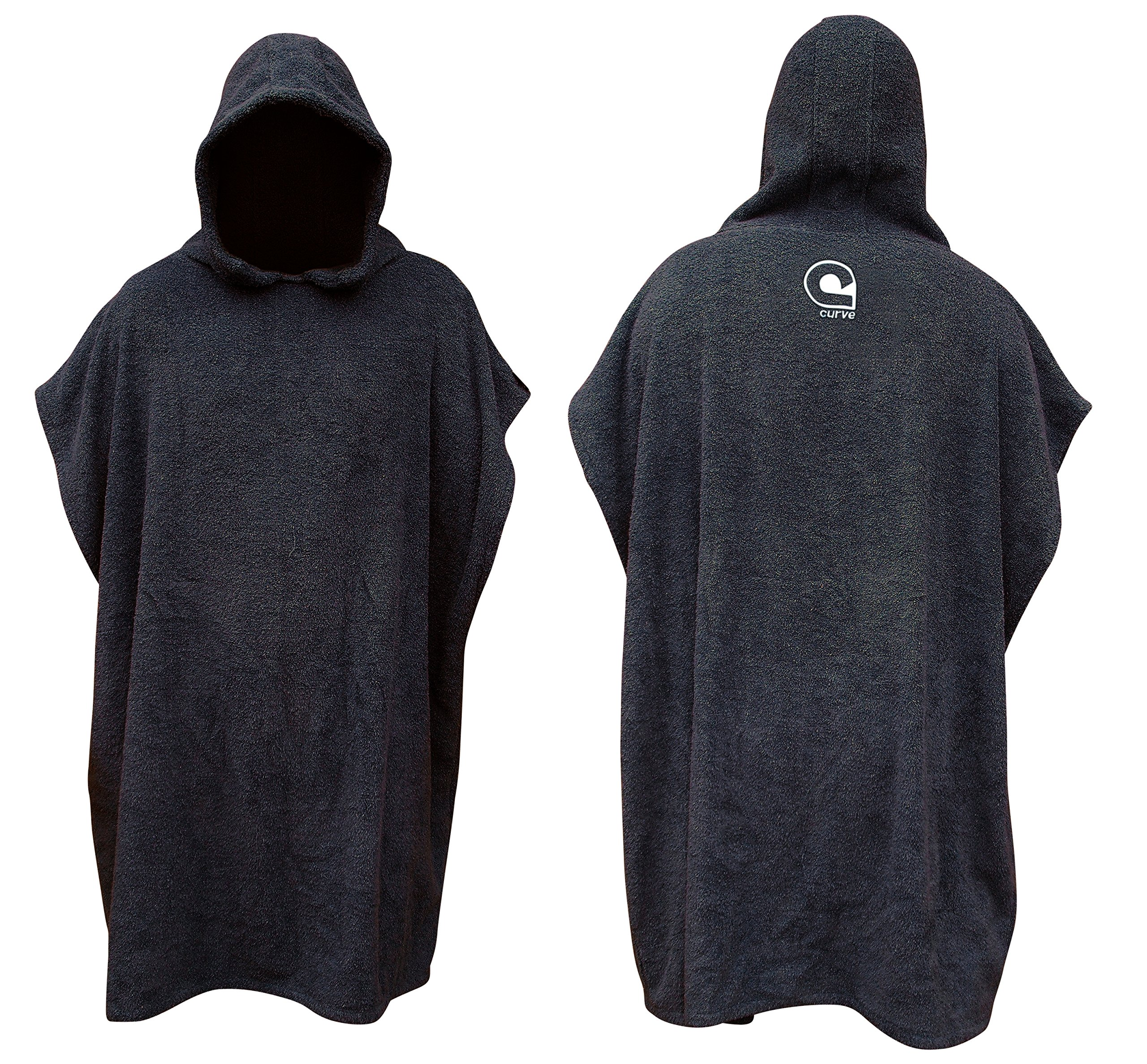 Swimming Robe Surf Beach Poncho in 100% COTTON Hooded Towel w adjustable sleeves [CHOOSE COLOR] (Charcoal, Child)