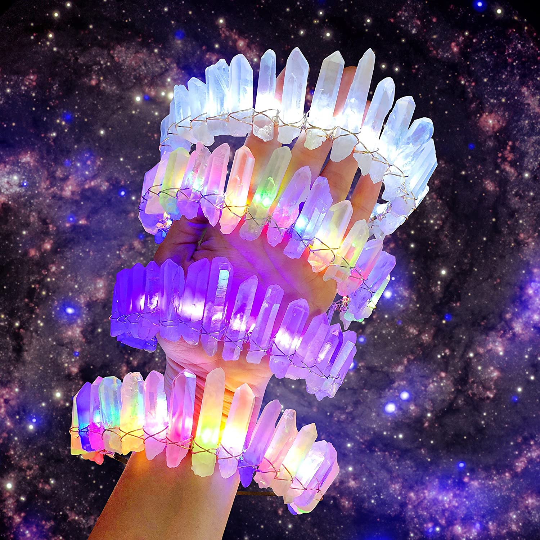 Electric LED light-up crystal crown, quartz, rave, EDM, PLUR