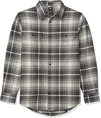 dickies Mens Long Sleeve Regular Fit Flannel Shirt