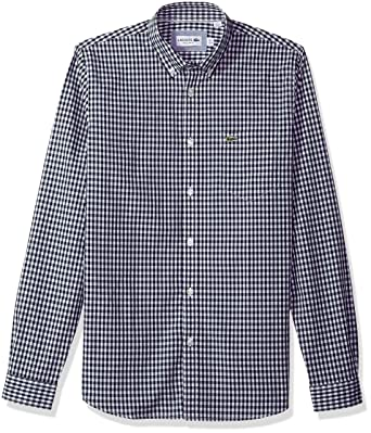 c4b48c29d368e8 Lacoste Men s Long Sleeve with Pocket Gingham Poplin Regular Fit Woven Shirt