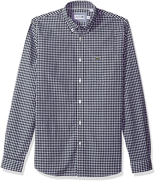 4c959a1d7ab5 Lacoste Men s Long Sleeve with Pocket Gingham Poplin Regular Fit Woven Shirt